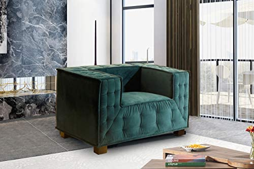 Iconic Home Bryant Accent Club Chair Velvet Upholstered Tufted Wide Armrest Tight Back Shelter Arm Design Espresso Finished Wooden Legs Modern Contemporary, BLUE