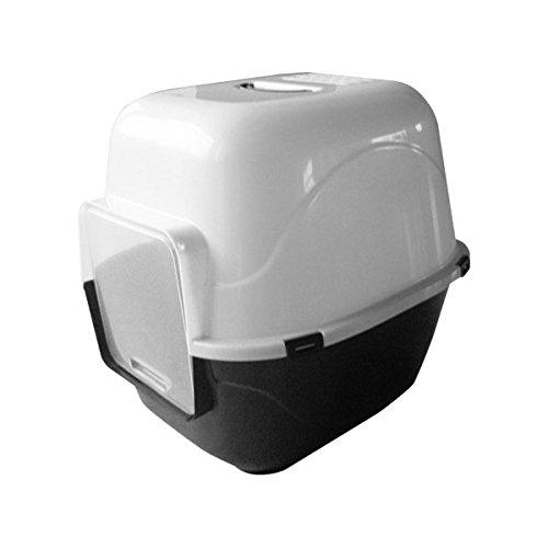 Bandeja higiénica cubierta para gatos Nobleza, color negro con trampilla de entrada y salida, largo 49,5 cm y alto 40,5 cm