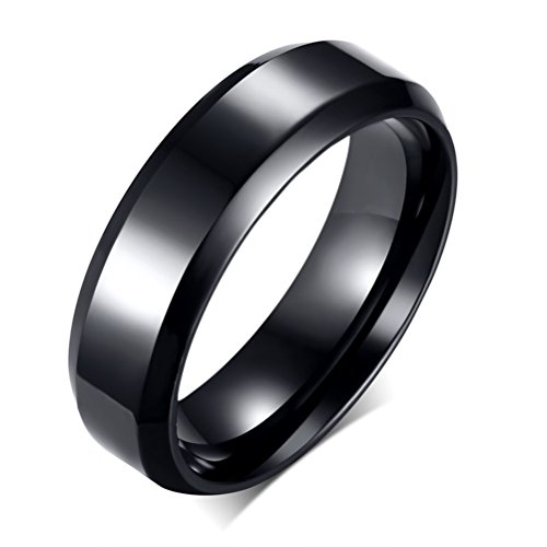 Artcarved Palladium Wedding Ring - Mens Womens 6mm Black Stainless Steel Wedding Ring Simple Style Engagement Promise Band for Him and Her Beveled Edges