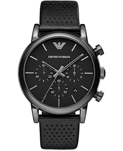 Amazon.com: Emporio Armani Classic Chronograph Black Dial Black Leather Mens Watch AR1737: Emporio Armani: Watches