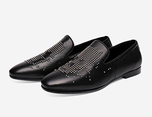 UK8 da casual scarpe Scarpe HWF Pelle uomo piselli Primavera in B lettino scarpe morbida moda in dimensioni Colore Uomo A nero EU43 pelle 1qxYd0x6