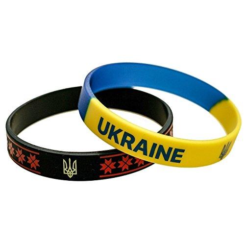UkrEcoGoods Patriotic Ukrainian Souvenir : Set of 2 Silicone Bracelets Wristbands with National Flag and Coat of Arms Emblem, Folk Art, Great Gift