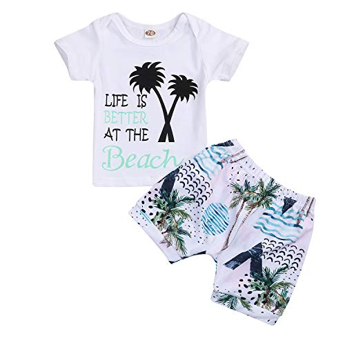YOUNGER STAR Baby Boys Girls Short Sleeve Shady Beach Glasses Shirt Summer Clothes and Palm Shorts Set White