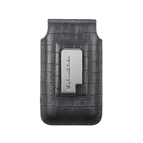 Blacksmith-Labs Barrett Mezzano 2017 Premium Genuine Leather Swivel Belt Clip Holster for Apple iPhone 6/6s/7 (4.7'') for use with Apple Leather Case - Black Croc Embossed Cowhide/Gunmetal Belt Clip by Blacksmith-Labs (Image #1)