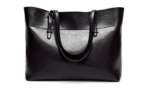 Women's Vintage Fine Fibre Genuine Leather Bag Tote Shoulder Bag Handbag Model Sie Black by CIR (Image #3)