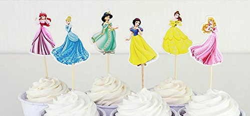 Birthday Party Cupcakes (Princess Party Cupcake Toppers Birthday Party Supplies 24pcs (4 Ariel, 4 Cinderella, 4 Jasmine, 4 Snow White, 4 Belle, 4 Aurora))