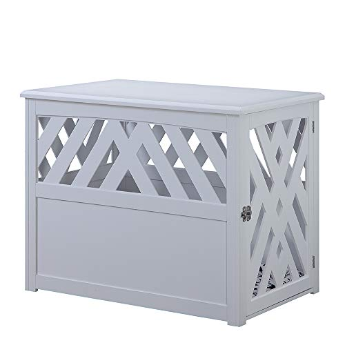 unipaws Wooden Pet Crate End Table with Pet Bed, Dog Crate Kennels, Home Deco Furniture Indoor Use, Modern Design Dog House, White