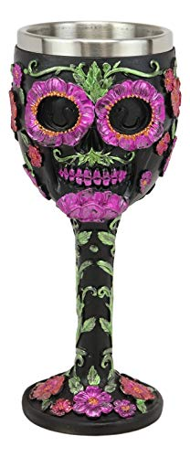Ebros Gothic Black Red Pink Green Day of The Dead Sugar Skull Wine Goblet 7oz Chalice As Kitchen Decorative Ossuary Halloween Party Centerpiece Accessory Novelty Cup