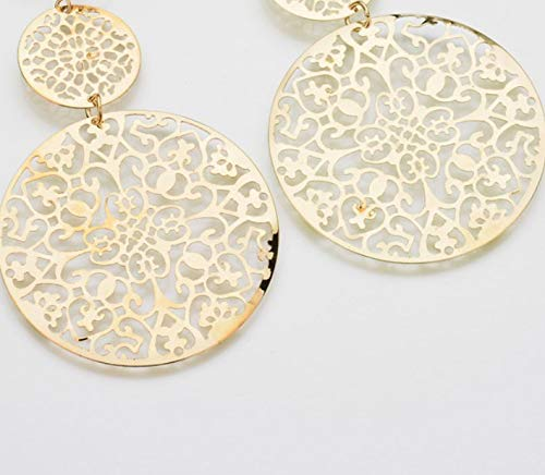 Clip on Earrings Delicate Filigree Dangle Double Circle Drop Earrings available in silver and gold tones