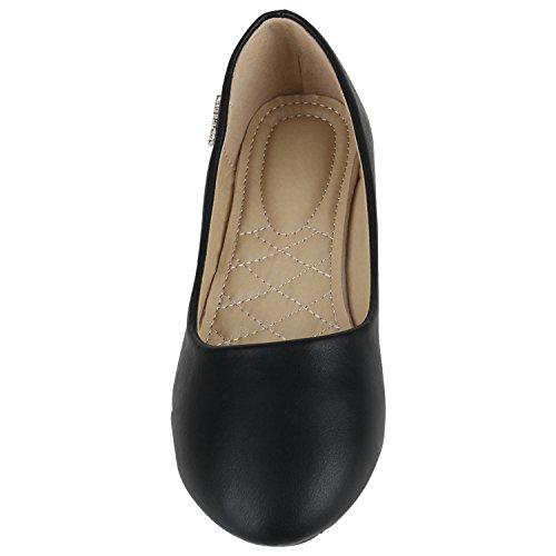 Klassische Damen Ballerinas Basic Flats Leder-Optik Slipper Spitze Lack Ballerina Schuhe Metallic Knopf Denim Snake Flandell Schwarz Glatt