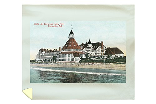 Lantern Press Coronado, California - Exterior View of Hotel del Coronado from Pier - Vintage Halftone 11931 (88x104 King Microfiber Duvet Cover)