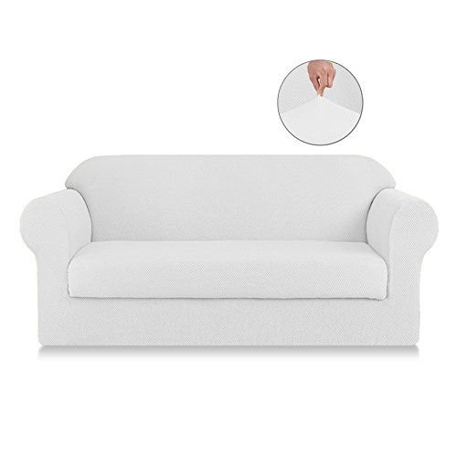 SyMax Jacquard Sofa Covers 2-Piece Spandex Anti-Slip Seat Armchair Covers Couch Furniture Protector for Kids(Loveseat, White) by SyMax