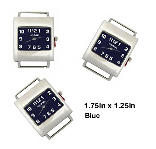 PlanetZia 2pcs Rectangle Ribbon Watch Faces for Your Interchangeable Beaded Bands TVT-RWS02 (Blue)