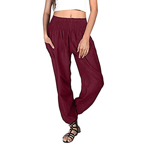 - ZEFOTIM Women Plus Size Print Loose Casual Elastic Pants Cropped Full Length Trousers (4XL,A-Red)