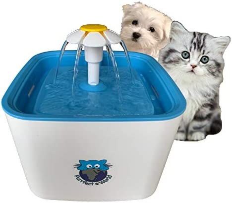 Purrfect World Cat and Dog Water Fountain w Carbon – Ion Exchange Filter 84 Oz 2.5L Capacity Provides Fresh Filtered Water for Your Pet