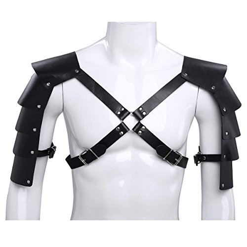 Igeon Men's Adjustable Faux Leather Body Chest Harness with Shoulder Armors Buckles Black -