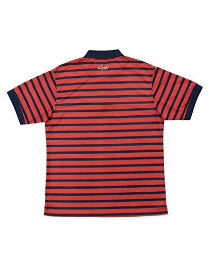 アーノルドパーマー メンズ ゴルフ ポロシャツ 半袖 ボーダーヘンリーネック半袖シャツ AP220101H04 NV/RD XO