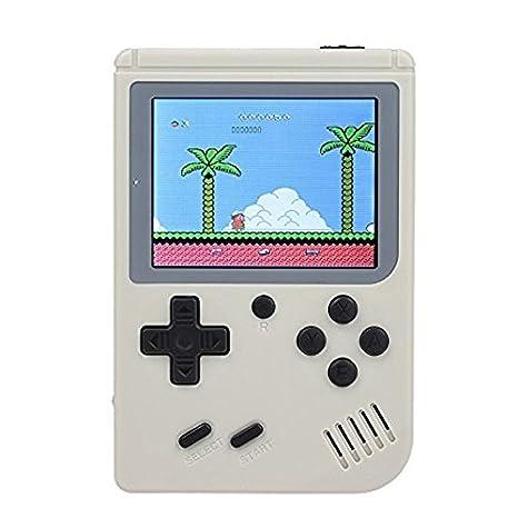 JIALI Retro Mini FC Handheld Game Boy Console de Jeu de Protection Nostalgia Cadeau PSP Batterie int/égr/ée Blanc