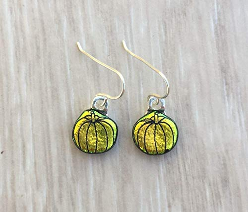 (Orange Yellow Pumpkin Laser Engraved Etched Dichroic Fused Glass Earrings with Solid Sterling Silver Ear)