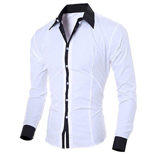 Hunzed Men Fashion Long Sleeve Shirt Casual Blouse Tops Slim Personality Shirt (White, XL)