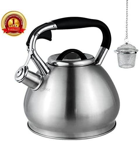 Whistling Tea Kettles Stovetop with Boils Faster Bottom,Surgical Brushed Stianless Steel Finish Whistling Teapot, 3 Quart,1YR Warranty, 1 Tea Maker Infuser Included by Kmatee