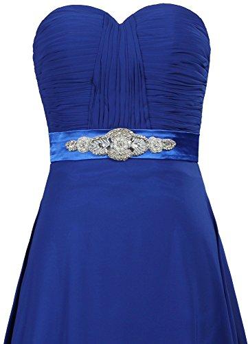 Fourmis Ceinture De Perles Sans Bretelles Robes De Bal Longues Robes De Soirée En Mousseline De Soie Bleu