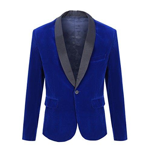 CARFFIV Men Stylish Velvet Suit Jacket Blazer (Royal Blue, Tag L (US S) Chest (Blue Velvet Blazer)