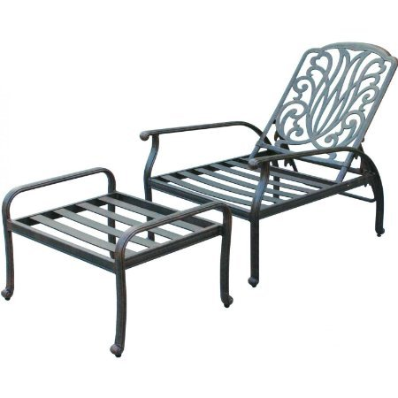 Heritage Outdoor Living Elisabeth Cast Aluminum Deep Seating Patio Reclining Lounge Chair and Ottoman - Antique Bronze