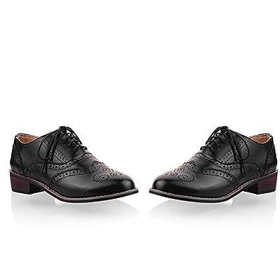 Vimisaoi Vintage Oxford Shoes for Women, Lace Up Wingtip Block Low Heel Cuban Brogues Flat Shoes