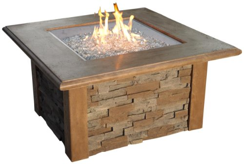The Outdoor GreatRoom Company Sierra Fire Pit with Super Cast Top in Mocha with Square Burner