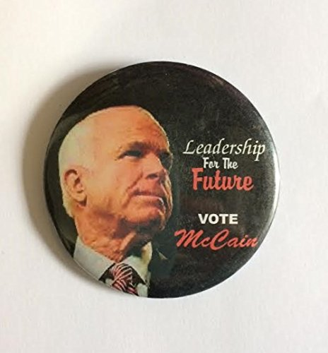 "John McCain 2008 Political Pin Back Button ""Leadership for the Future Vote McCain"" (3"" Wide)"