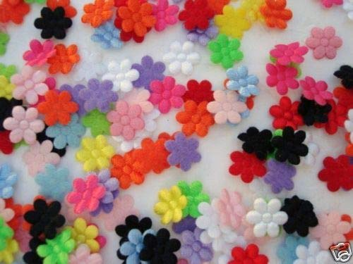 Decorative notions and Trims - 200 Satin/Felt Back Mini Flower Applique/Sewing/Trim/Doll/Craft/Padded h58-mix - Embellish Garments, Pillows and Home d?cor