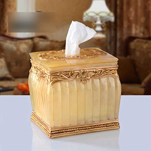 Souliyan Tissue Box European Resin High-Grade Paper Box Paper Towel Tube Paper Tissue Box Hand-Painted Napkin Tray (Color : Gold)
