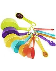 Mitavo måttsats i 12 delar för köket, måttsked doseringssked sked för matlagning och bakning gjord av plast, färgglad