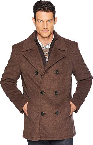 Kenneth Cole New York Men's Double Breasted Wool Peacoat w/Inner Vestie Medium Brown ()