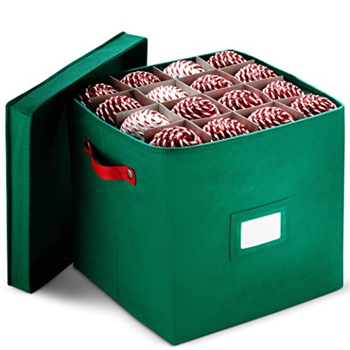 Christmas Ornament Storage Box With Lid - Protect and Keeps Safe Up To 64 Holiday Ornaments & Xmas Decorations Accessories, Durable Non-Woven Ornament Storage Container, 3