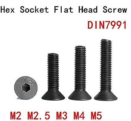 10pcs Size : M5x16 Marque; SSY Six pans creux /à t/ête plate Vis M2 // M2,5 // M3 // M4 // M5 * 3//4//5//6//8//10//12//16//20//30//40 // 50mm boulon noir de vis /à t/ête frais/ée Grade10.9 brand:SSY