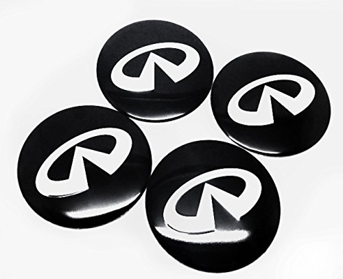 (INFINITI Black & Silver Wheel Center Hub Cap Cover Decal 56mm Full Set 2.2 inch)