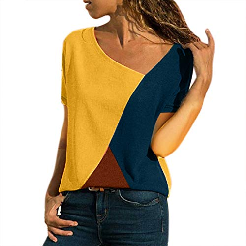 Womens Tops,Casual Tee Shirts Long Sleeve Patchwork Color Block O-Neck Loose Fits Tunic Tops Blouses Chaofanjiancai