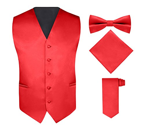 S.H. Churchill & Co. Men's 4 Piece Vest Set, with Bow Tie, Neck Tie & Pocket Hankie - Red, M (Men Mens Suits Vests)