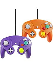 Wired Gamecube Controller for Wii Game Gube Console (Orange and Purple,2 Packs)