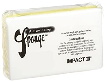 "Impact 7150 Yellow White The Amazing Sponge Magic Eraser Pad, 4-1/2"" Length x 2-3/4"" Width x 1-1/2"" Height (Case of 30)"