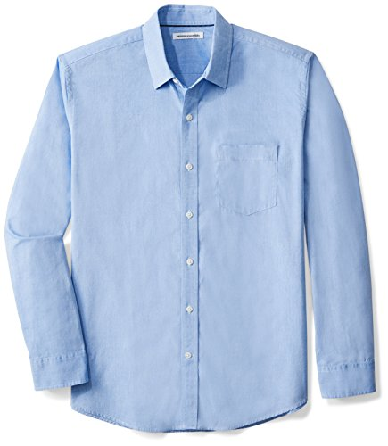 Amazon Essentials Men's Regular-Fit Long-Sleeve Solid Casual Poplin Shirt, French Blue, XX-Large