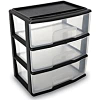 Large Three Drawer Cart Black