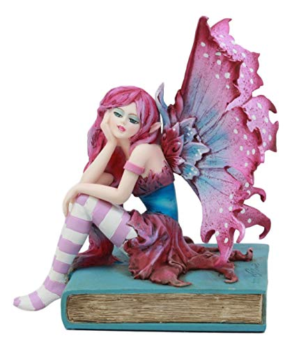 Ebros Amy Brown Missing You Magenta Book Fairy Statue 6