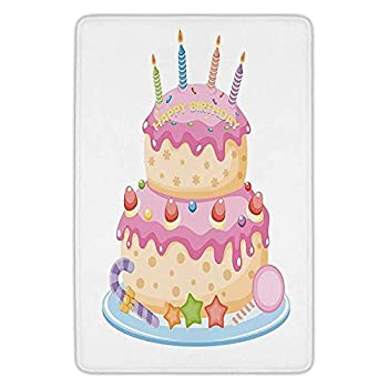 Bathroom Bath Rug Kitchen Floor Mat Carpet,Birthday Decorations for Kids,Pastel Colored Birthday Party Cake with Candles and Candies,Light Pink,Flannel Microfiber Non-Slip Soft Absorbent