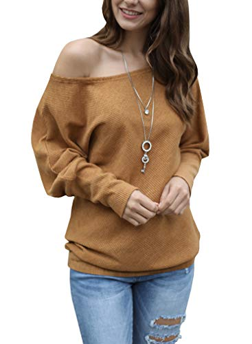 Womens Off The Shoulder Sweater Oversized Knit Long Batwing Sleeve Pullover Tops