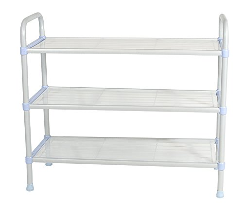 Wellmax Shoe Rack - 3 Tier Shoe Organizer | Sturdy Space Saving Shelf for Closets, Entryways, Doorways, Mudrooms, Garages & Home Storage | Expandable & Stackable w Other Shelves | Fits 12-15 Pairs