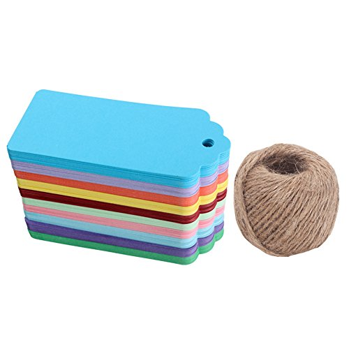 WARMBUY 200Pcs Colorful Rectangle Paper Tags for Holiday Presents Wedding Party Favors, 200 Feet Natural Jute Twine ()