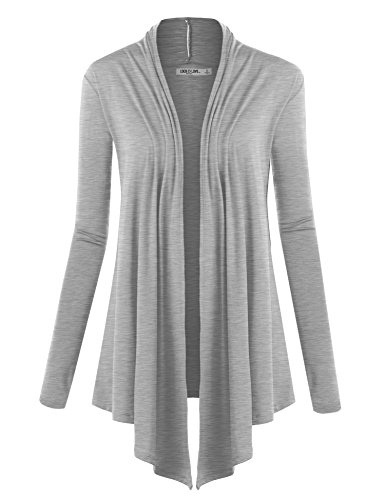 WSK850 Womens Draped Open- Front Cardigan M Heather_Grey